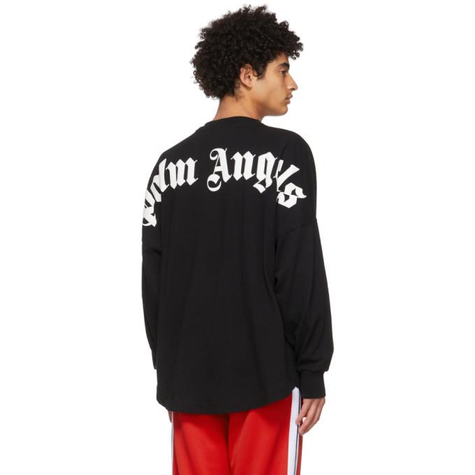 PALM ANGELS Cottons PALM ANGELS BLACK LOGO LONG SLEEVE T-SHIRT