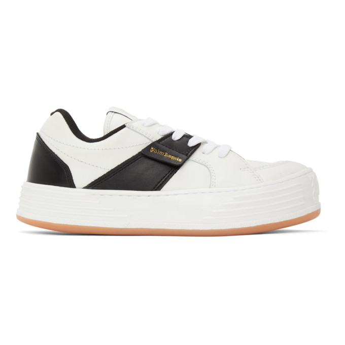 Palm Angels Leathers PALM ANGELS WHITE AND BLACK LOGO SNEAKERS