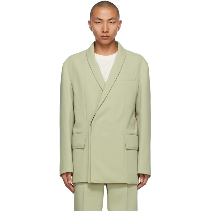 Wooyoungmi WOOYOUNGMI GREEN CONCEALED DOUBLE-BREASTED BLAZER