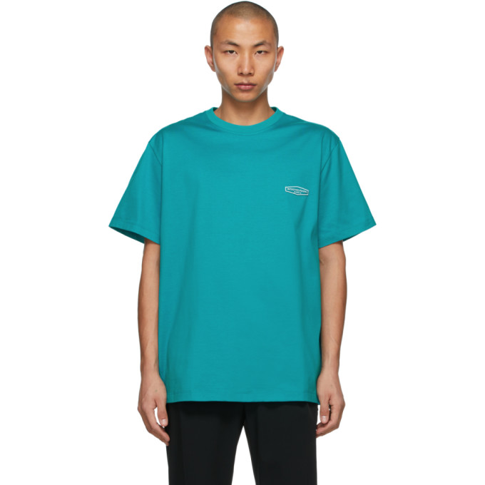 Wooyoungmi WOOYOUNGMI BLUE EMBROIDERED LOGO T-SHIRT