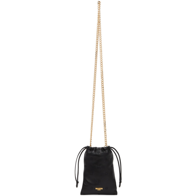Moschino MOSCHINO BLACK SMALL PADDED INSIDE OUT POUCH BAG