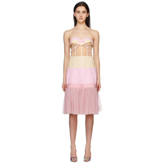 Moschino Mini dresses MOSCHINO PINK AND BEIGE TULLE OTTOMAN DECONSTRUCTED COUTURE DRESS