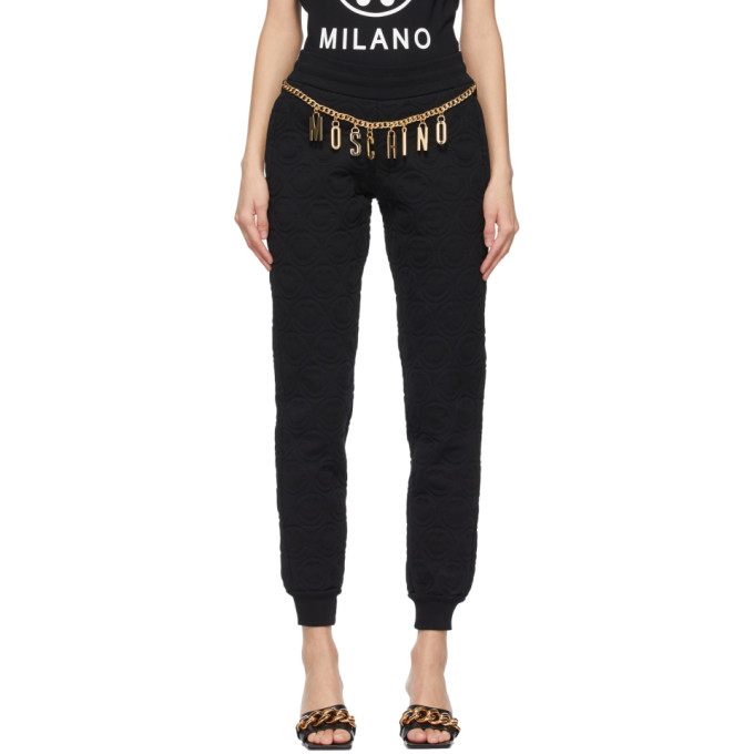 Moschino MOSCHINO BLACK SMILEY© EDITION QUILTED LOUNGE PANTS
