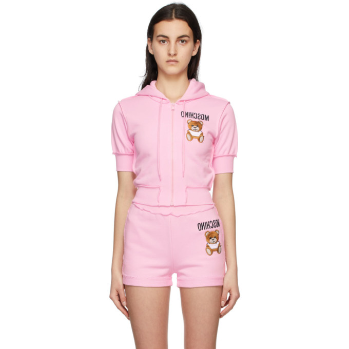 Moschino Cottons MOSCHINO PINK INSIDE OUT TEDDY BEAR CROPPED ZIP-UP HOODIE