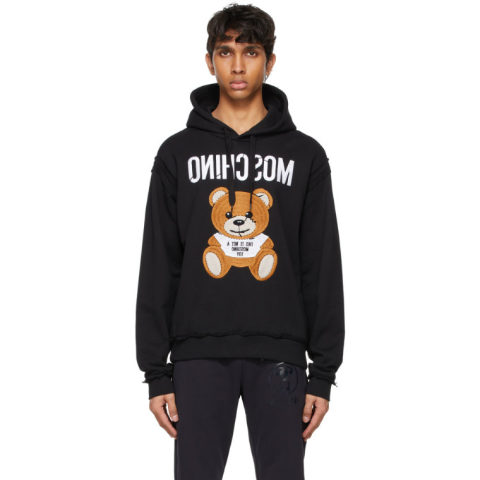 Moschino MOSCHINO BLACK INSIDE OUT TEDDY BEAR HOODIE