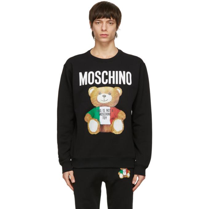 Moschino Black Large Teddy Bear Cotton Sweatshirt In V1555 Black