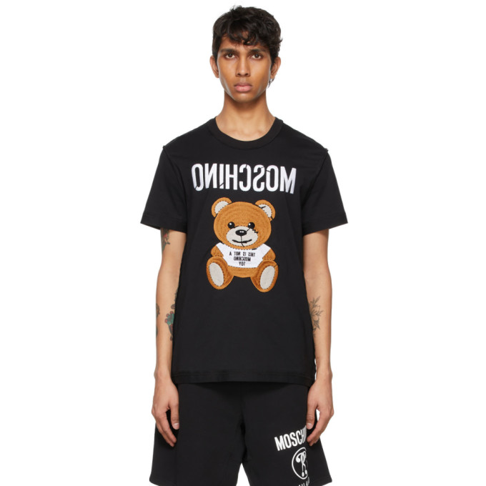 Moschino MOSCHINO BLACK LOGO TEDDY BEAR T-SHIRT