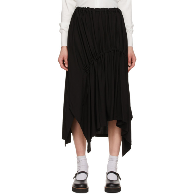 Y's YS BLACK SHIRRING MID-LENGTH SKIRT