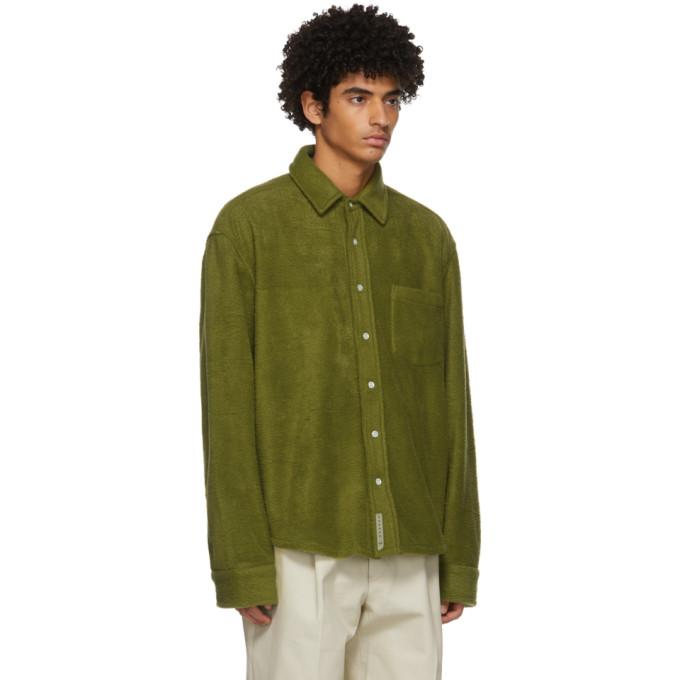 CONNOR MCKNIGHT Jackets CONNOR MCKNIGHT GREEN POLAR FLEECE OVERSHIRT JACKET