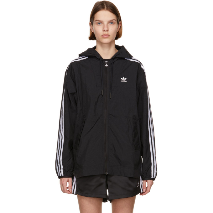 Adidas Originals ADIDAS ORIGINALS BLACK ADICOLOR CLASSICS WINDBREAKER JACKET