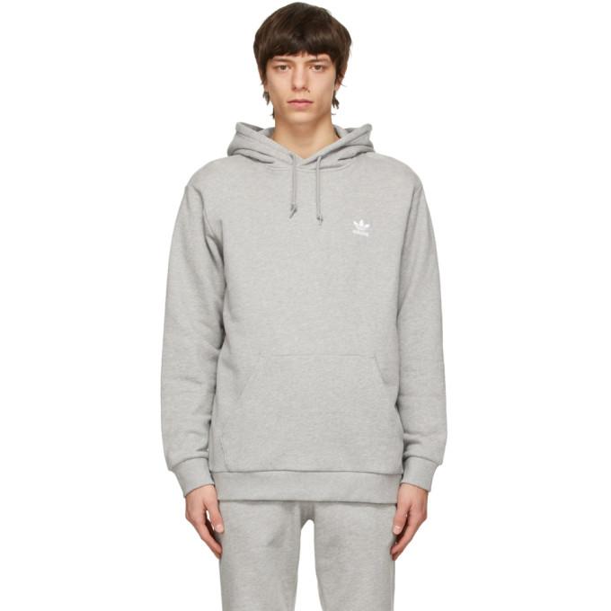 Adidas Originals ADIDAS ORIGINALS GREY TREFOIL ESSENTIALS HOODIE