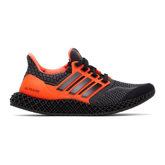 Adidas Originals ADIDAS ORIGINALS BLACK AND ORANGE ULTRA 4D 5.0 SNEAKERS