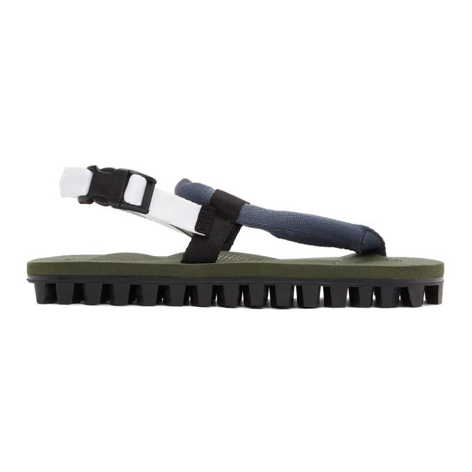 Suicoke Green Gut Flip Flops In Navy/olive