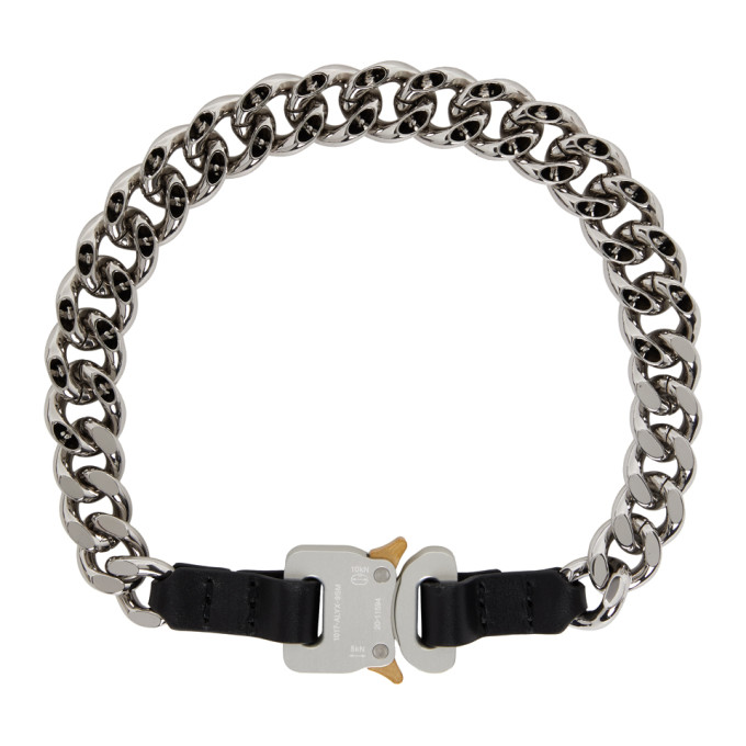 Alyx 1017 ALYX 9SM SILVER AND BLACK LEATHER DETAILS CHAIN NECKLACE