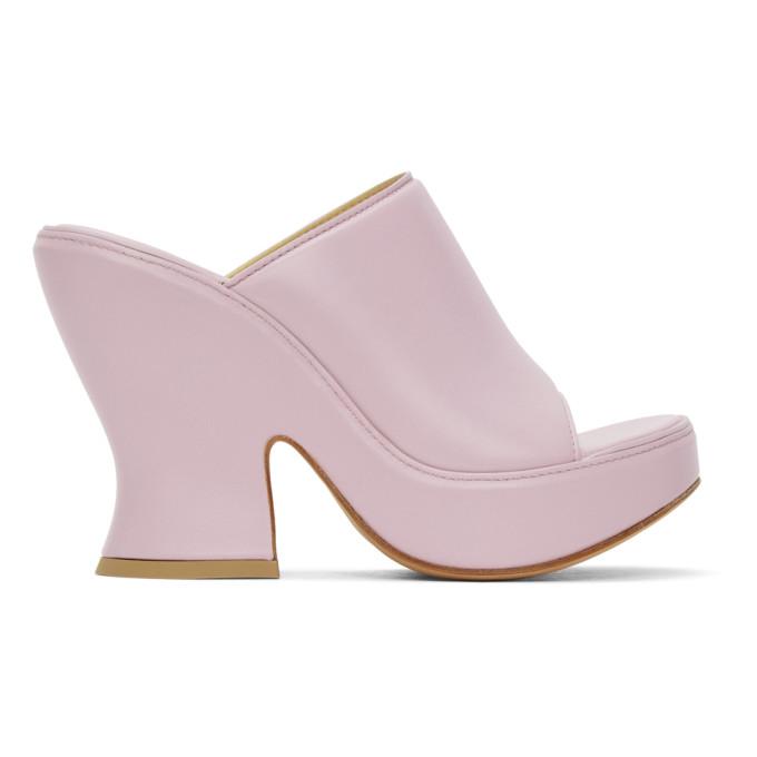Bottega Veneta Shoes BOTTEGA VENETA PURPLE WEDGE HEELED SANDALS