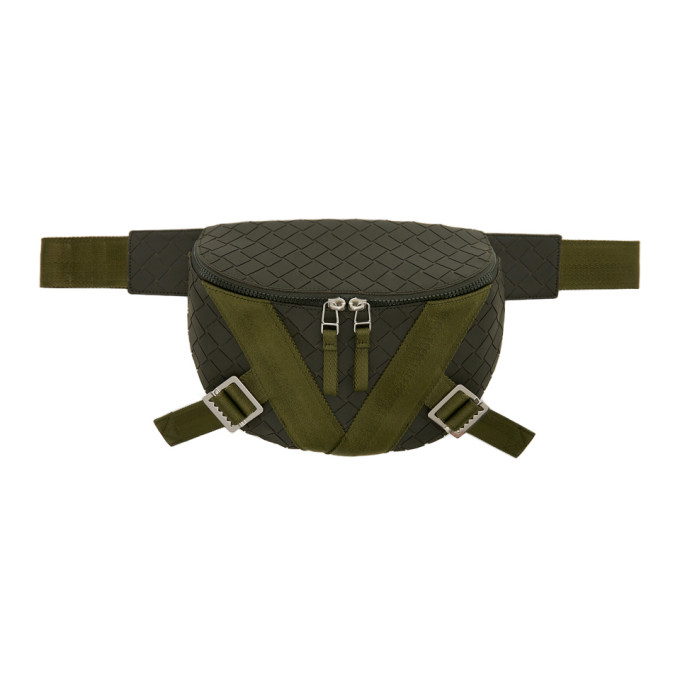 Bottega Veneta BOTTEGA VENETA KHAKI RUBBER BELT BAG