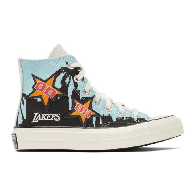 Converse High tops CONVERSE BLUE AND BLACK CHINATOWN MARKET EDITION LAKERS CHAMPIONSHIP JACKET CHUCK 70 HI SNEAKERS