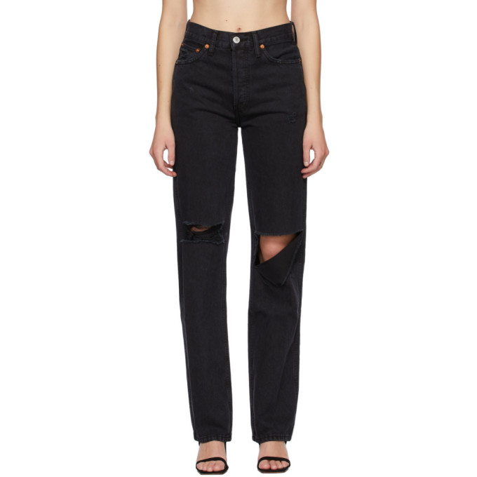 Re/done The High Rise Loose Distressed Jeans In Black