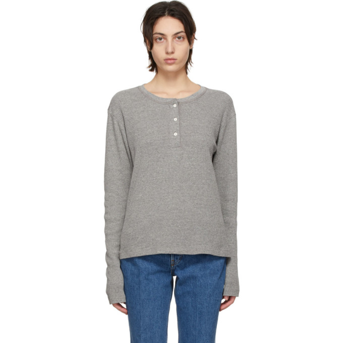 Re/done RE/DONE GREY HANES EDITION THERMAL HENLEY