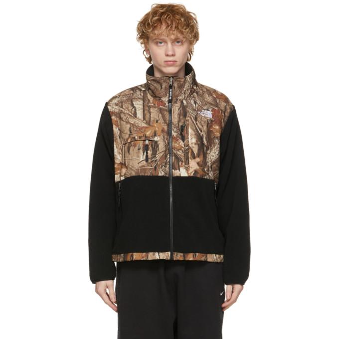 The North Face Black Denali 2 Printed Fleece Jacket In Blk/ktan Fr