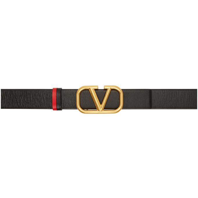 Valentino VALENTINO GARAVANI BLACK AND RED VALENTINO GARAVANI VLOGO BELT