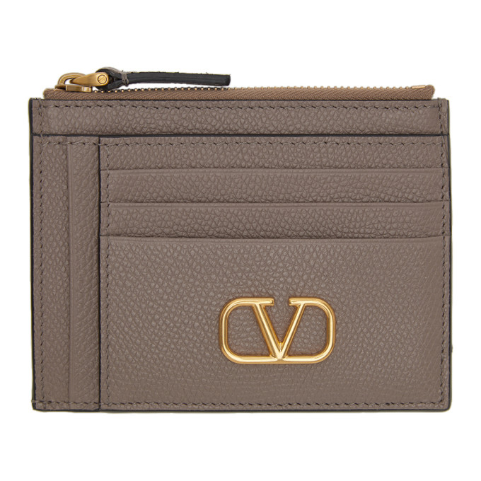 Valentino Garavani 灰褐色 Valentino Garavani 系列 VLogo Double 卡包