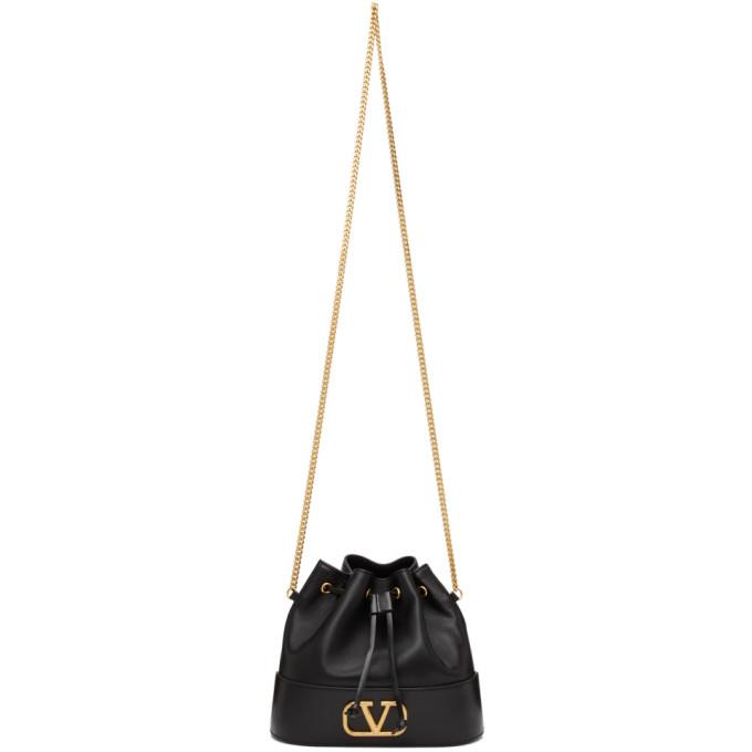 Valentino Bags VALENTINO GARAVANI BLACK VALENTINO GARAVANI VLOGO BUCKET BAG
