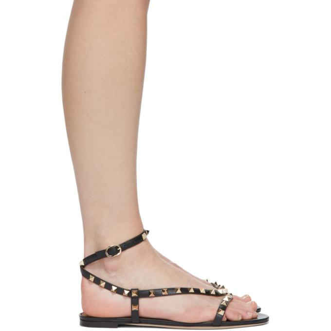 Valentino Garavani Black Rockstud Swirl Flat Sandals In 0no Black