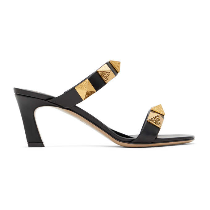Valentino Garavani Garavani Leather Rockstud Sandals 65 In 0no Black