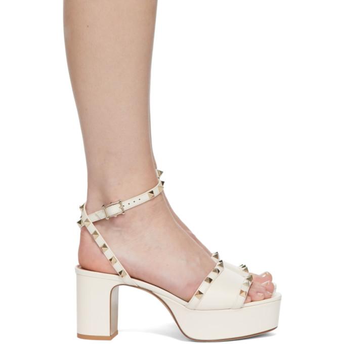 Valentino Garavani Off-white Rockstud Platform Sandals In I16 Ltivory