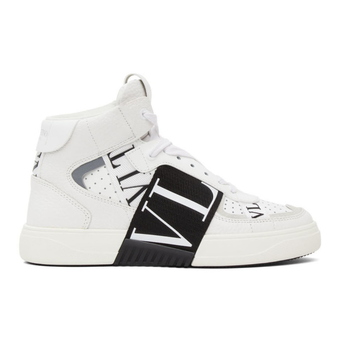 Valentino Garavani White & Black 'vl7n' Mid-top Sneakers In 24p Wh/blk