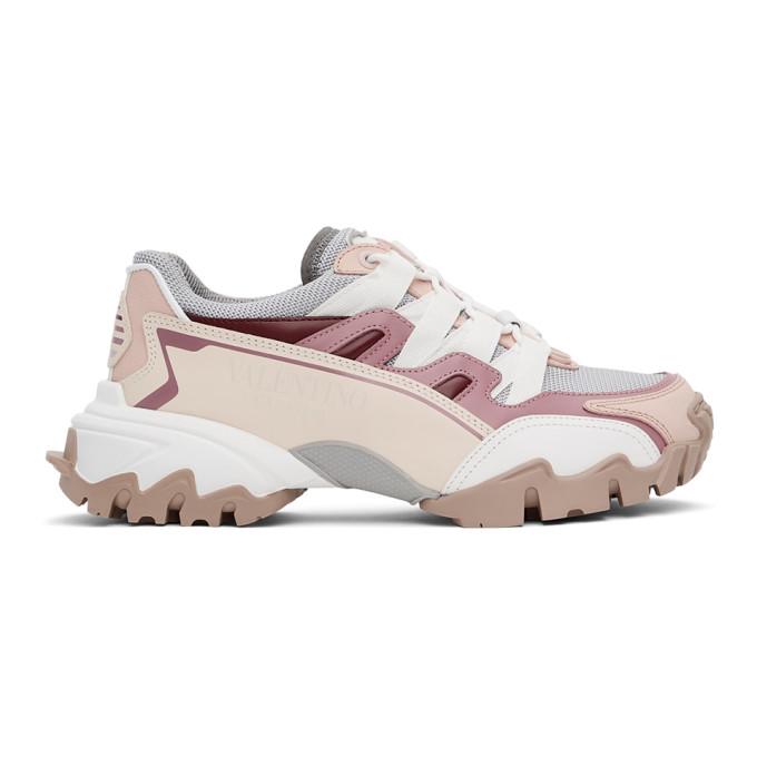 Valentino Garavani Grey & Pink Vlogo Climbers Sneakers In Ab1 Pastel Grey/rose