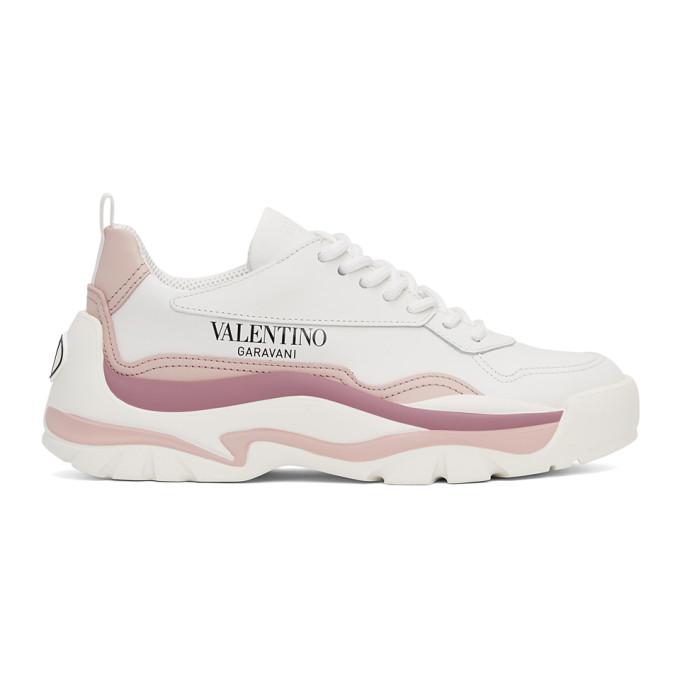 Valentino Garavani White & Pink Vlogo Gumboy Low Sneakers In 0nl White/rose Quart