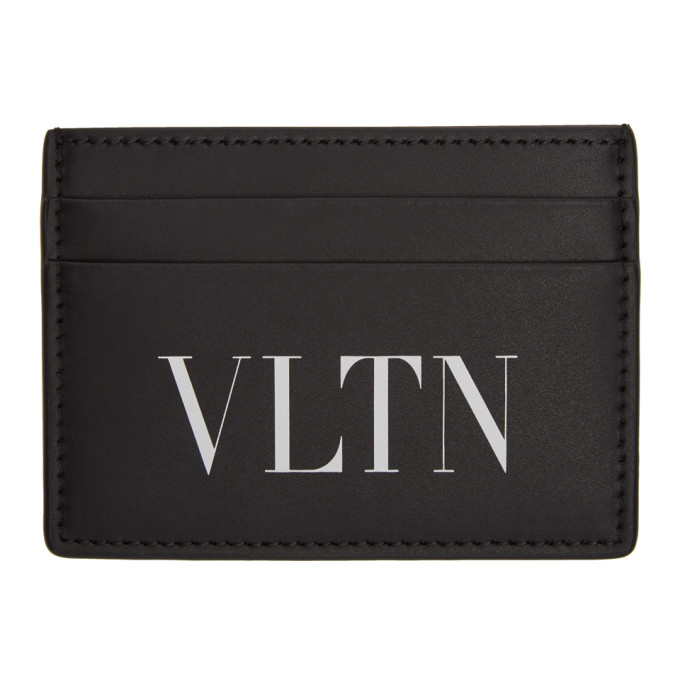 Valentino Garavani Vltn-logo Leather Cardholder In 0no Nero/bi