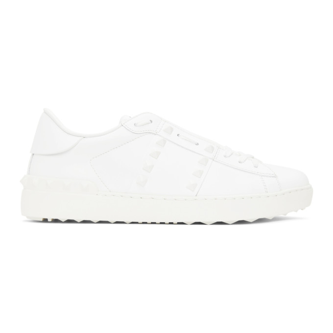Valentino Garavani Men's Shoes Leather Trainers Sneakers Rockstud Untitled In 0bo Bianco/