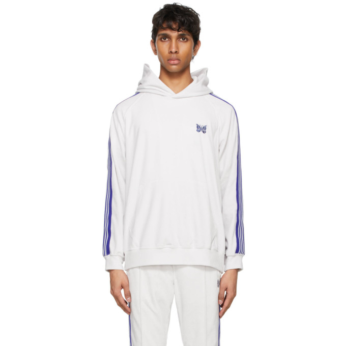 Needles Logo-embroidered Webbing-trimmed Cotton-blend Velour Hoodie In White