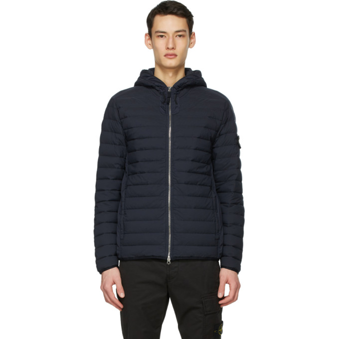 Stone Island Navy Down Loom Woven Chambers Jacket In V0020 Navy Blue