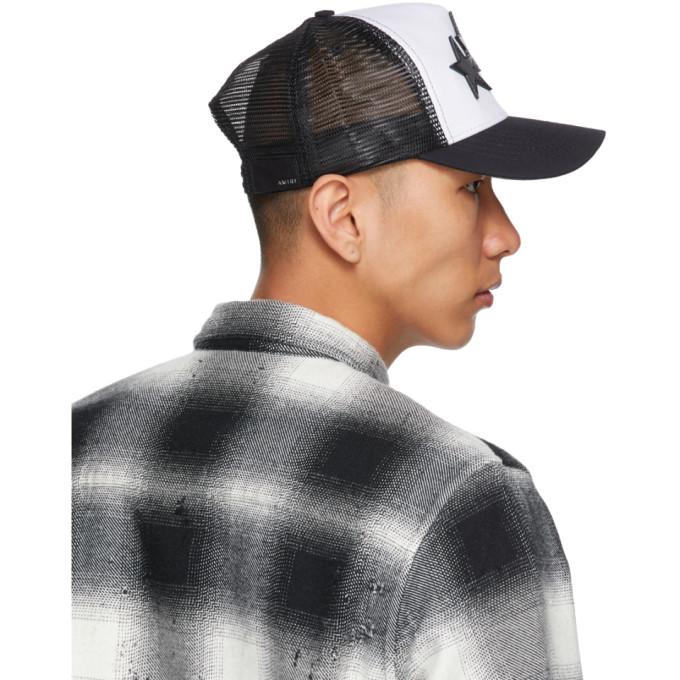 AMIRI Hats AMIRI BLACK AND WHITE 3 STAR COLOR BLOCK TRUCKER HAT