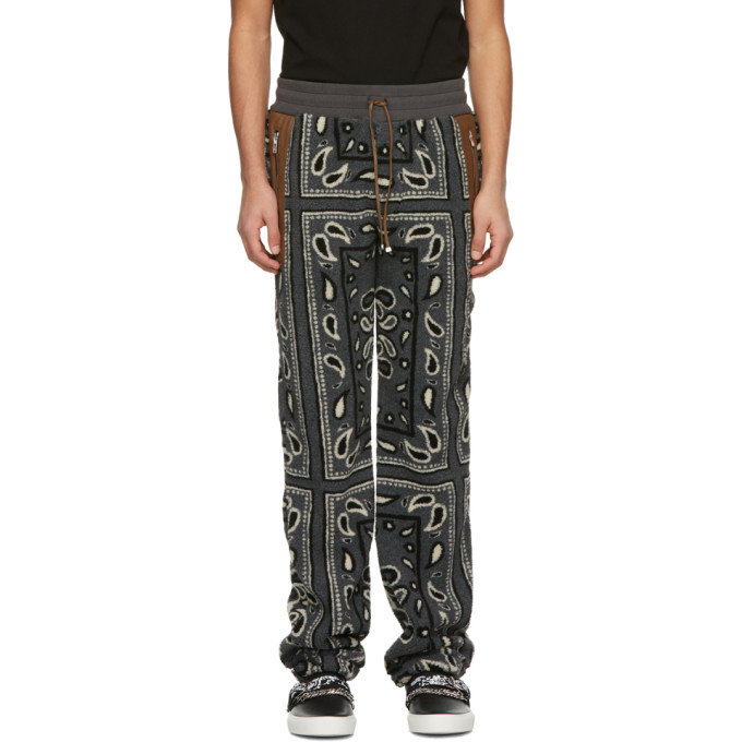 Amiri AMIRI GREY FLEECE BANDANA SWEATPANTS