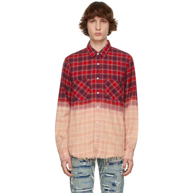 Amiri Men's Bleached Flannel Sport Shirt In Red