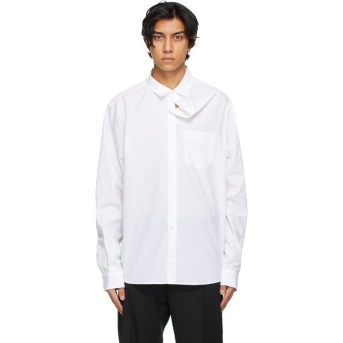 Y/project Cottons Y/PROJECT WHITE CLASSIC ASYMMETRIC COLLAR SHIRT