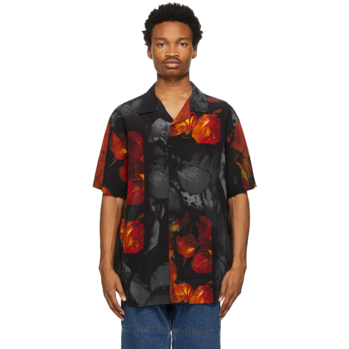 Y/project Y/PROJECT BLACK AND RED SILK ROSE RESORT SHORT SLEEVE SHIRT