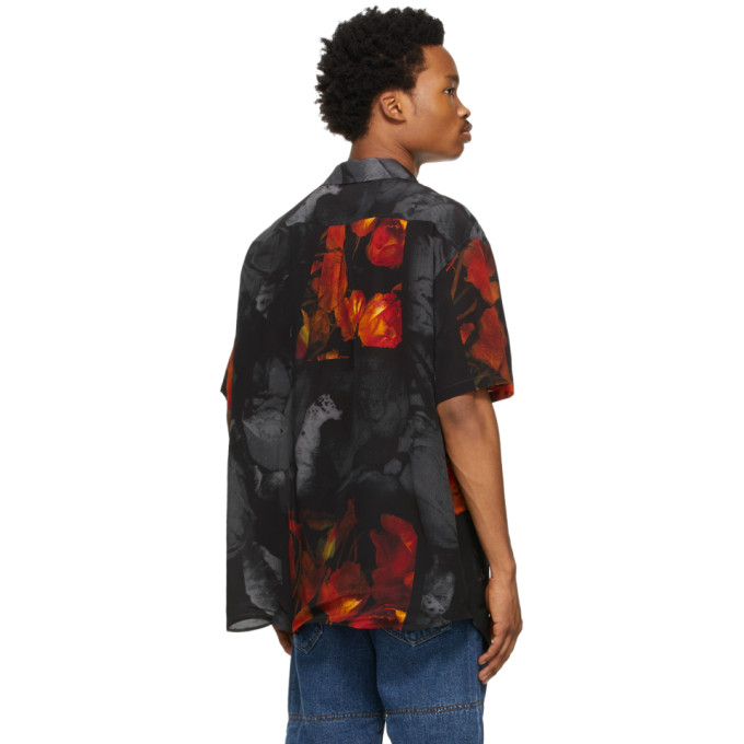Y/PROJECT Silks Y/PROJECT BLACK AND RED SILK ROSE RESORT SHORT SLEEVE SHIRT
