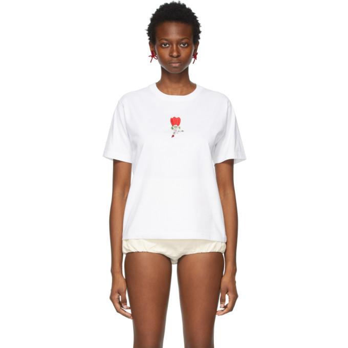 Shushu-Tong T-shirts SHUSHU/TONG WHITE AND RED FLOWER T-SHIRT
