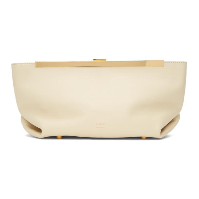 Khaite Cream White Aimee Leather Clutch Bag
