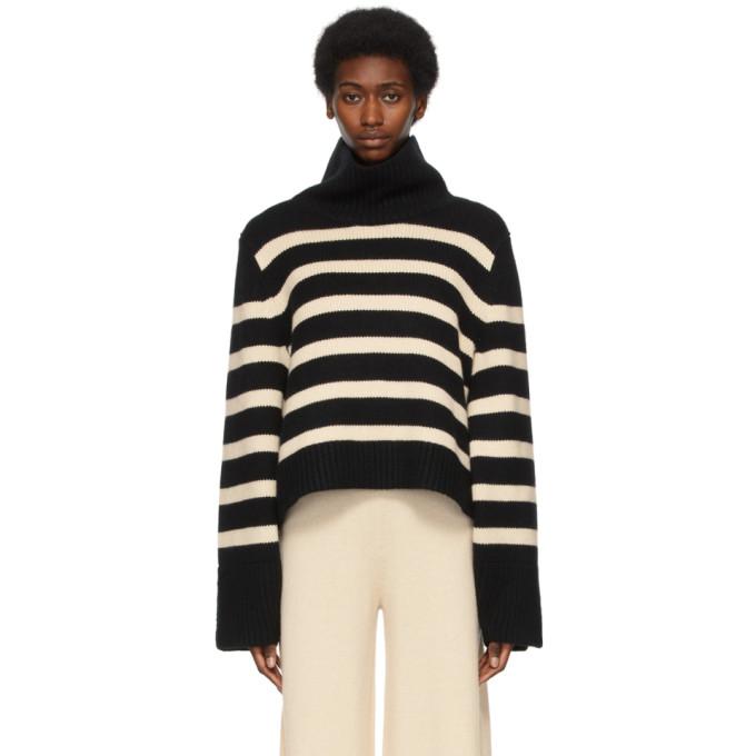 Khaite Sweaters KHAITE BLACK AND BEIGE CASHMERE THE MARION SWEATER