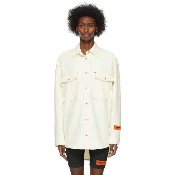 Heron Preston Shirts HERON PRESTON OFF-WHITE BUTTON-UP SHIRT