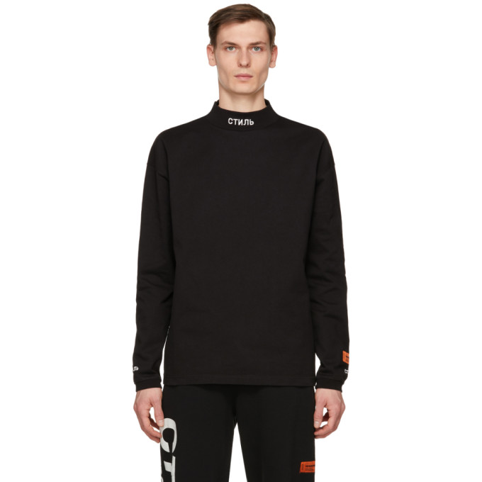 HERON PRESTON HERON PRESTON BLACK STYLE MOCK NECK LONG SLEEVE T-SHIRT