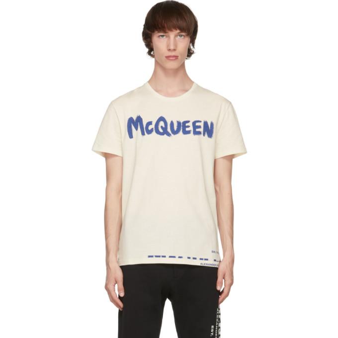 Alexander Mcqueen Graffiti Logo Print Cotton T-shirt In 0906 Cream/mix