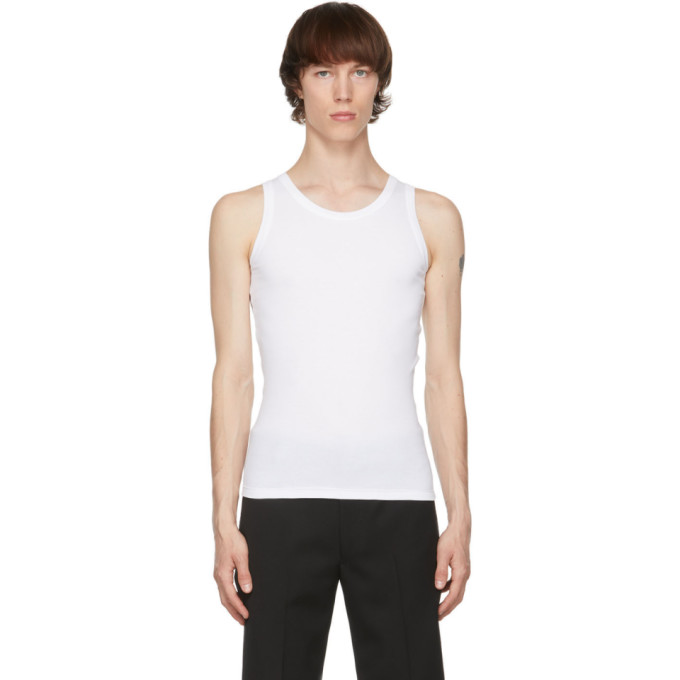 Alexander Mcqueen White Ribbed Tank Top In 9000 White